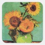 Van Gogh; 3 girasoles en un florero, flores del vi Pegatina Cuadradas
