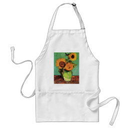 Van Gogh 3 Sunflowers in a Vase Vintage Fine Art Adult Apron