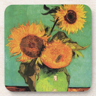 Van Gogh 3 Sunflowers in a Vase Vintage Fine Art Coaster