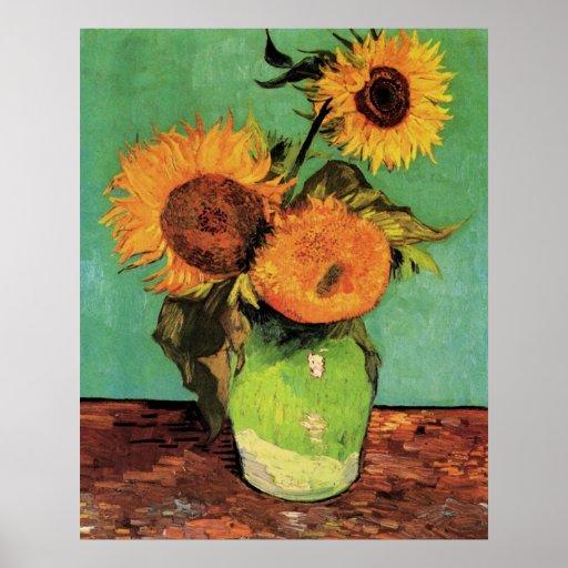 Van Gogh 3 Sunflowers in a Vase Vintage Fine Art Poster