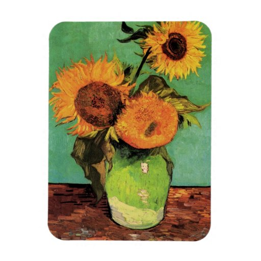 Van Gogh 3 Sunflowers in a Vase Vintage Fine Art Rectangular Photo Magnet