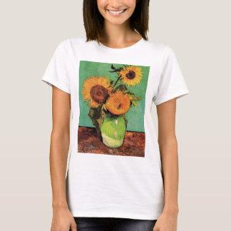 Van Gogh 3 Sunflowers in a Vase Vintage Fine Art T-Shirt