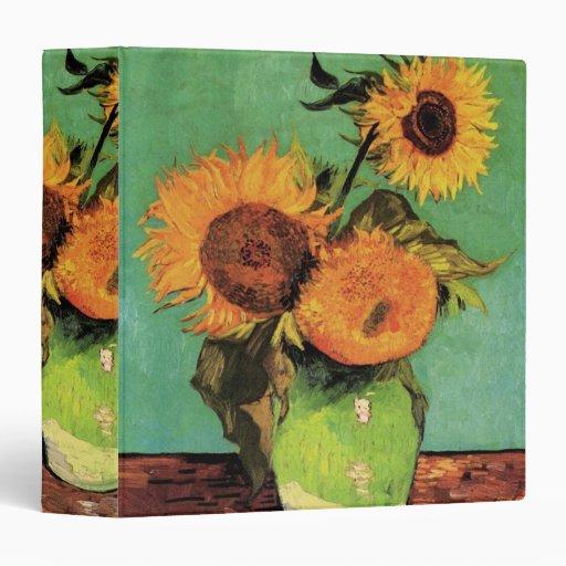Van Gogh; 3 Sunflowers in a Vase, Vintage Flowers Vinyl Binder