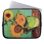 Van Gogh; 3 Sunflowers in a Vase, Vintage Flowers Laptop Computer Sleeve