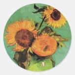 Van Gogh; 3 Sunflowers in a Vase, Vintage Flowers Sticker