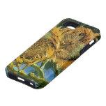 Van Gogh, 4 cortó los girasoles, vintage florece f iPhone 5 Case-Mate Coberturas