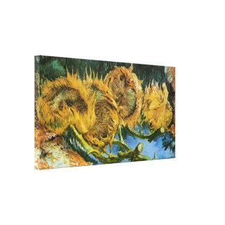 Van Gogh, 4 cortó los girasoles, vintage florece f Lona Estirada Galerias