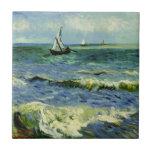 "Van Gogh - A Fishing Boat at Sea Ceramic Tile<br><div class=""desc"">Vincent van Gogh painting,  A Fishing Boat at Sea,  square tile.</div>"