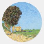 Van Gogh A Lane Near Arles, Vintage Impressionism Classic Round Sticker