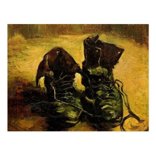 Van Gogh A Pair of Shoes, Vintage Still Life Art Postcard