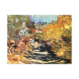 Van Gogh - A Road In Saint-Remy With Female Figure Canvas Print