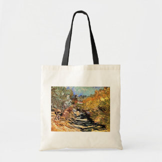 Van Gogh - A Road In Saint-Remy With Female Figure Tote Bag