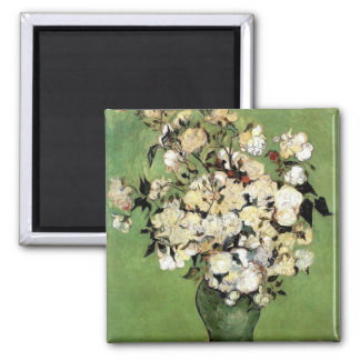 Van Gogh: A Vase of Roses 2 Inch Square Magnet