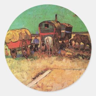 Van Gogh; Acampamento de gitanos con las caravanas Etiquetas Redondas