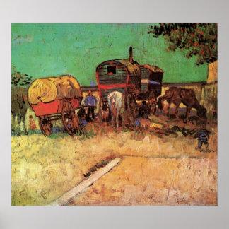 Van Gogh; Acampamento de gitanos con las caravanas Póster