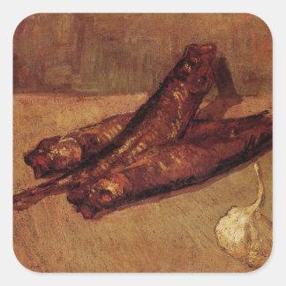 Van Gogh, ajo de los arenques ahumados, todavía Pegatina Cuadrada