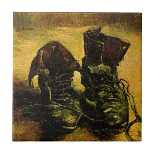 Van Gogh al par de zapatos, todavía del vintage Azulejos