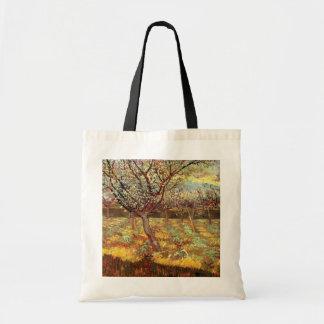 Van Gogh Albaricoqueros en el flor arte del vint Bolsa
