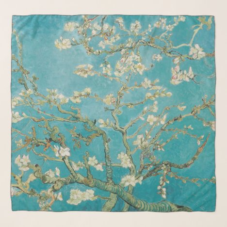 Van Gogh, Almond Blossoms, Teal Blue at St. Remy Scarf
