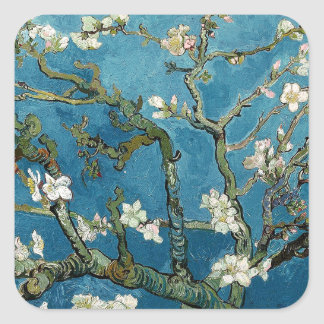 Van Gogh Almond Blossoms Vintage Floral Blue Square Sticker