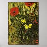 Van Gogh - amapolas y mariposas Impresiones