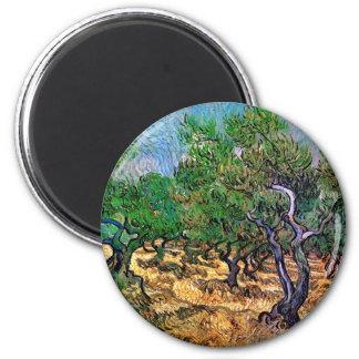 Van Gogh - arboleda verde oliva Imán Redondo 5 Cm