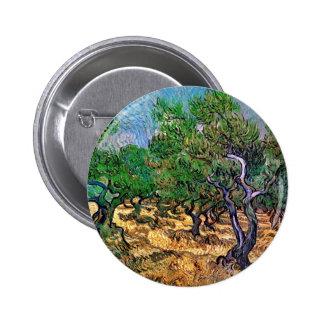 Van Gogh - arboleda verde oliva Pin Redondo De 2 Pulgadas