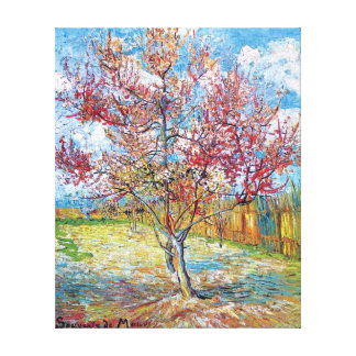 Van Gogh - árboles de melocotón rosados Lona Envuelta Para Galerias