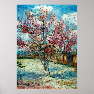 Van Gogh - árboles de melocotón rosados Póster