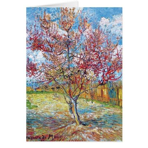 Van Gogh - árboles de melocotón rosados Felicitación