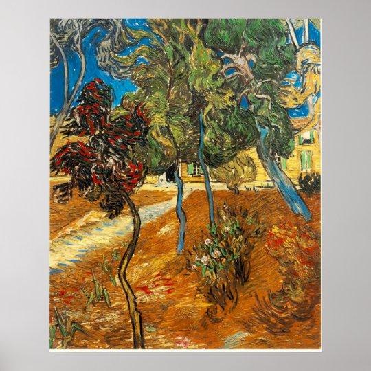 VAN GOGH - árboles en el jardín del asilo Póster