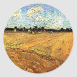 Van Gogh aró el campo, arte del impresionismo del Pegatina Redonda