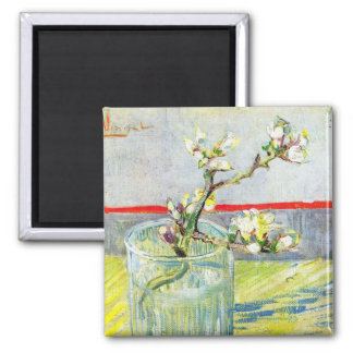 Van Gogh Art, Blossoming Almond Branch in a Glass 2 Inch Square Magnet