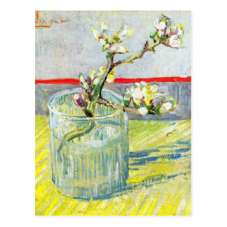 Van Gogh Art, Blossoming Almond Branch in a Glass Postcard