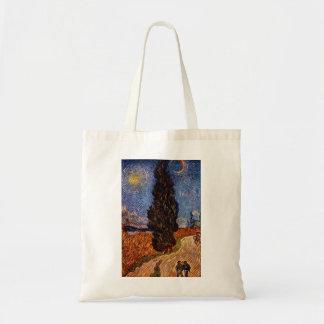 Van Gogh art painting The Cypress Road tree sky Bag