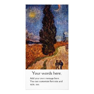 Van Gogh art painting The Cypress Road tree sky Card