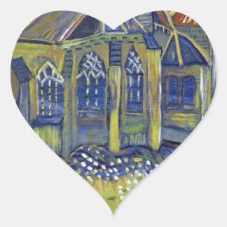 Van Gogh art reproduction,  The Church at Auvers Heart Sticker