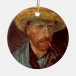 Van Gogh; Autorretrato con el gorra y el tubo de p Ornamento Para Reyes Magos