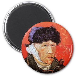 Van Gogh - autorretrato con el oído y el tubo Imán Redondo 5 Cm