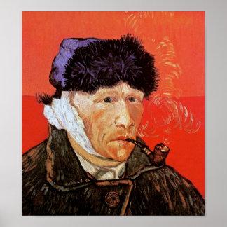 Van Gogh - autorretrato con el oído y el tubo Póster