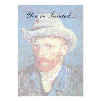 Van Gogh - autorretrato con el sombrero de fieltro Invitación 12,7 X 17,8 Cm