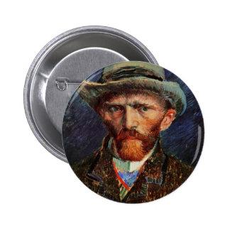 Van Gogh; Autorretrato con el sombrero de fieltro Chapa Redonda 5 Cm