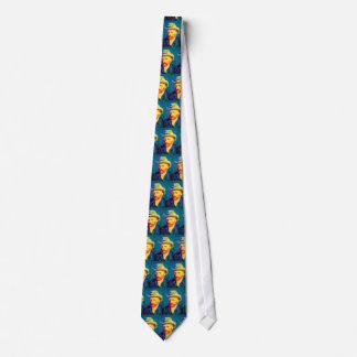 Van Gogh - autorretrato del arte pop con el gorra Corbata Personalizada