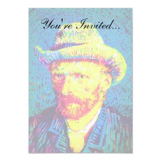Van Gogh - autorretrato del arte pop con el gorra Invitación 12,7 X 17,8 Cm
