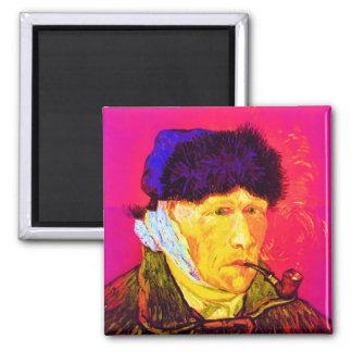 Van Gogh - autorretrato del arte pop con el oído Imán Cuadrado