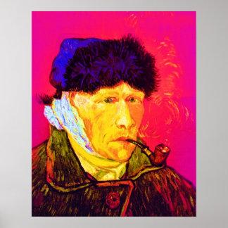 Van Gogh - autorretrato del arte pop con el oído Póster