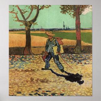 Van Gogh - autorretrato en el camino a Tarascon Póster