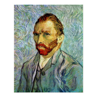 Van Gogh - autorretrato verde Póster
