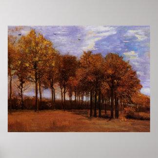 Van Gogh Autumn Landscape, Vintage Nature Fine Art Poster