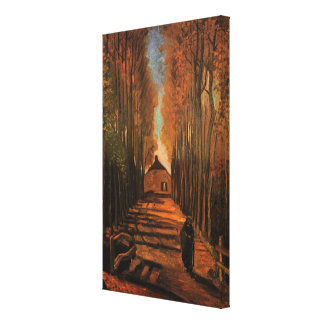 Van Gogh Avenue of Poplars in Autumn, Vintage Art Stretched Canvas Print